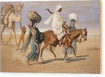 Bedouin Family Travels Across The Desert Wood Print by Henri de Montaut