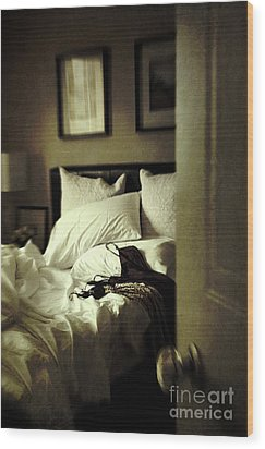 Bedroom Scene With Under Garments On Bed Wood Print by Sandra Cunningham