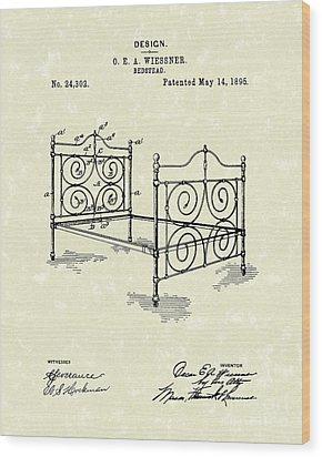 Bedstead 1895 Patent Art Wood Print by Prior Art Design