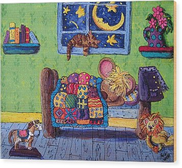 Bedtime Mouse Wood Print by Megan Walsh