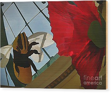 Bee And Flower Wood Print by John Malone