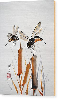 Wood Print featuring the painting Bee-ing Present by Bill Searle