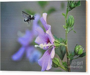 Bee Lavender Wood Print by Nava Thompson