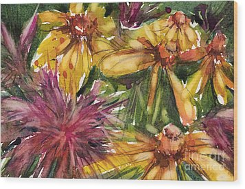 Beebalm And Heliopsis Wood Print by Judith Levins