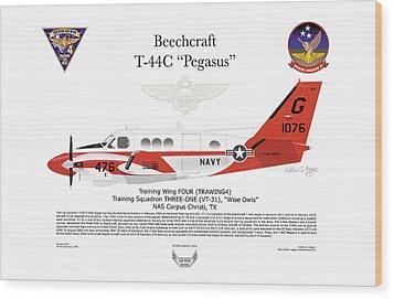 Beechcraft T-44c Pegasus Wood Print by Arthur Eggers
