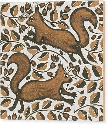 Beechnut Squirrels Wood Print by Nat Morley