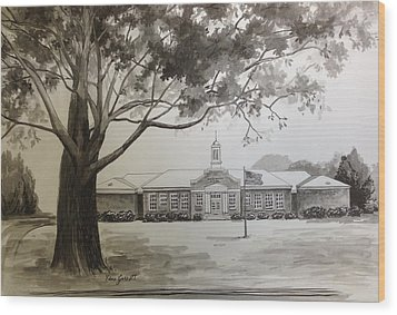Beechwood School Building Wood Print
