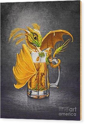 Beer Dragon Wood Print