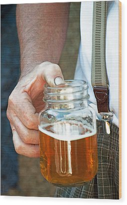 Wood Print featuring the photograph Beer He Drank by Gwyn Newcombe