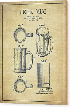 Beer Mug Patent Drawing From 1951 - Vintage Wood Print by Aged Pixel