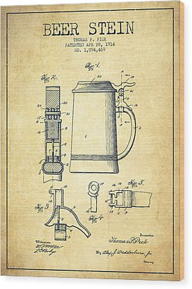 Beer Stein Patent From 1914 -vintage Wood Print by Aged Pixel