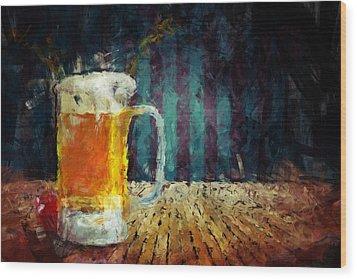 Beer Time Wood Print by Adam Vance