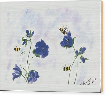 Bees At Lunch Time Wood Print