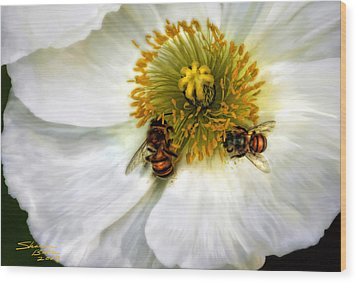 Wood Print featuring the painting Bees On A Flower by Sharon Beth