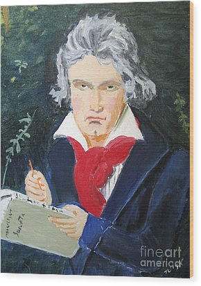 Wood Print featuring the painting Beethoven by Judy Kay