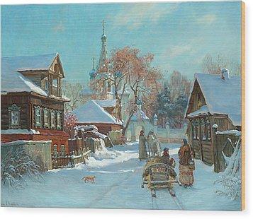 Before Russian Christmas Wood Print by Korobkin Anatoly