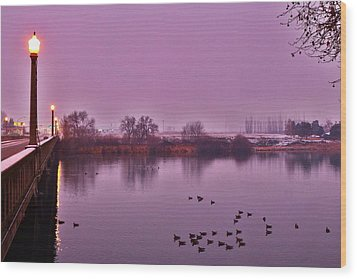 Wood Print featuring the photograph Before Sunrise On The Bridge by Lynn Hopwood