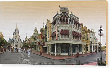 Before The Gates Open Early Morning Magic Kingdom With Castle. Wood Print by Thomas Woolworth