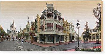 Before The Gates Open Magic Kingdom Main Street. Wood Print