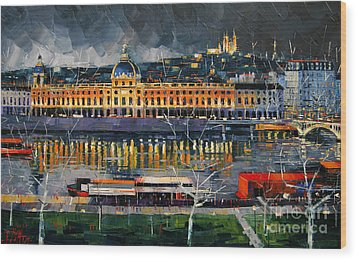 Before The Storm - View On Hotel Dieu Lyon And The Rhone France Wood Print