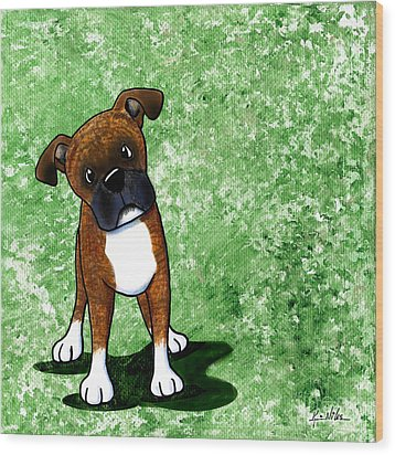 Befuddled Brindle Boxer Wood Print by Kim Niles