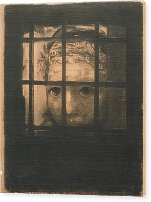 Behind Bars Wood Print by Odilon Redon