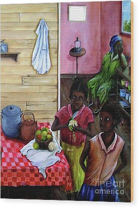 Wood Print featuring the painting Behind The Blue Door by Anna-maria Dickinson