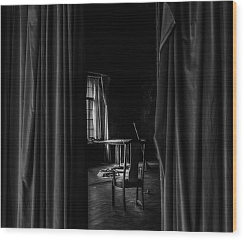Behind The Curtain Wood Print by David Mcchesney