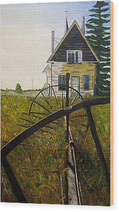 Wood Print featuring the painting Behind The Old Church by Marilyn  McNish