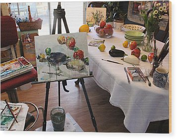 Behind The Scene - Eggplants And Fruits Wood Print by Becky Kim