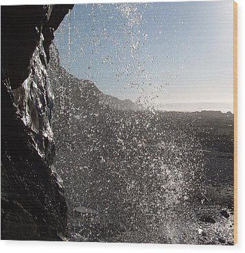 Behind The Waterfall Wood Print