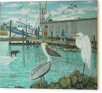 Behind Wando Shrimp Co. Wood Print