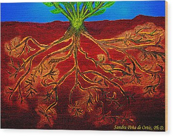 Being Rooted And Grounded In My Good Soil Wood Print by Sandra Pena de Ortiz
