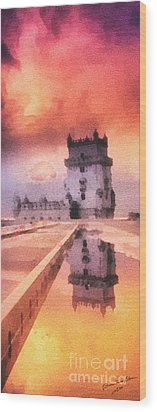 Belem Tower Wood Print by Mo T
