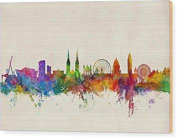 Belfast Northern Ireland Skyline Wood Print by Michael Tompsett