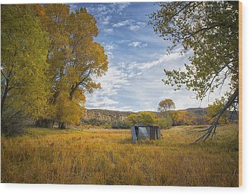 Belfry Fall Landscape Wood Print