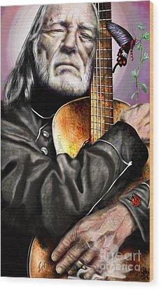Believing In Rainbows And Butterflies-being Willie Wood Print by Reggie Duffie