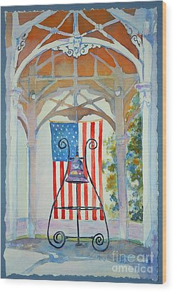 Bell And Flag Wood Print by Mary Haley-Rocks