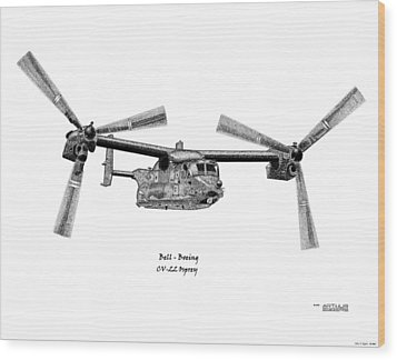 Wood Print featuring the drawing Bell-boeing Cv-22b Osprey by Arthur Eggers