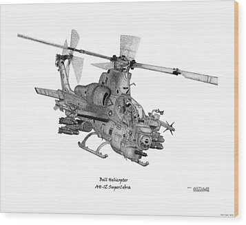 Wood Print featuring the drawing Bell Helicopter Ah-1z Supercobra by Arthur Eggers