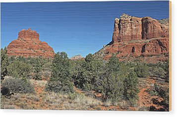 Wood Print featuring the photograph Bell Rock And Courthouse Butte by Penny Meyers