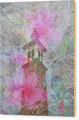 Bell Tower Wrapped In Spring Wood Print
