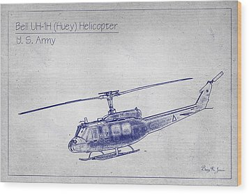Bell Uh-1h Huey Helicopter  Wood Print by Barry Jones