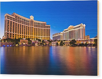 Bellagio And Caesars Wood Print