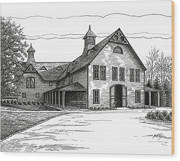 Belle Meade Plantation Carriage House Wood Print by Janet King
