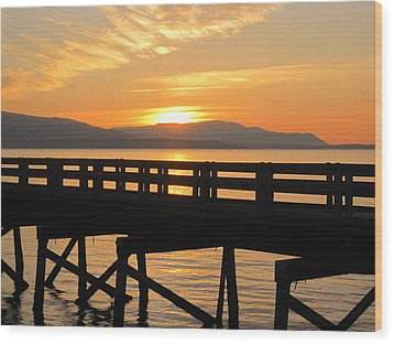Wood Print featuring the photograph Bellingham Bay Boardwalk by Karen Molenaar Terrell