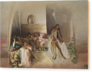 Belly Dancer Lounge Wood Print by Corporate Art Task Force