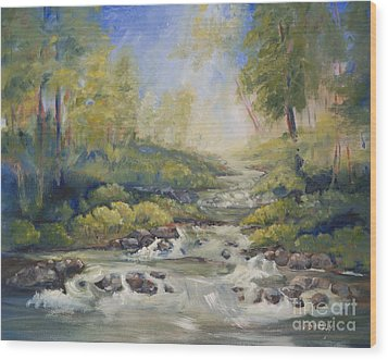Below Amicalola Falls Painting Wood Print
