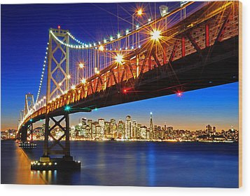 Below The Bay Bridge And San Francisco Skyline Wood Print