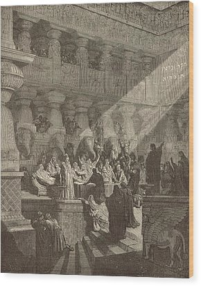 Belshazzar's Feast Wood Print by Antique Engravings